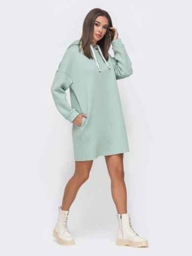 Теплое oversize платье на флисе с капюшоном мятное 51136, фото 1