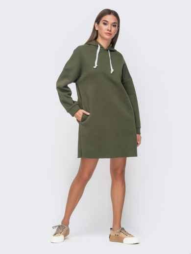Теплое платье на флисе с капюшоном цвета хаки 51134, фото 1