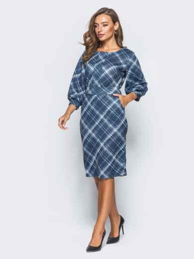 """Трикотажное платье синего цвета с рукавом """"фонарь"""" - 16398, фото 2 – интернет-магазин Dressa"""