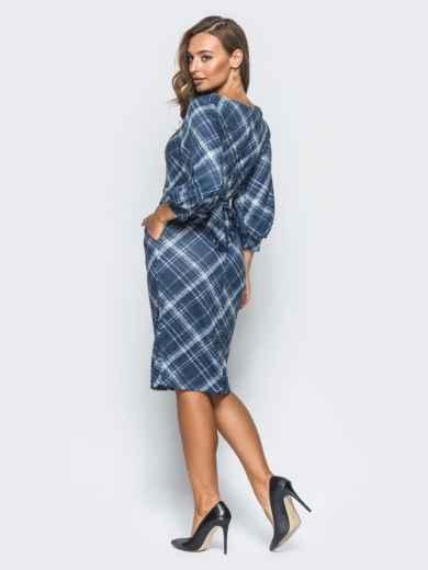 """Трикотажное платье синего цвета с рукавом """"фонарь"""" - 16398, фото 3 – интернет-магазин Dressa"""