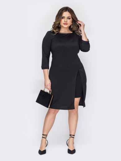 Черное платье батал с разрезом спереди 53201, фото 1