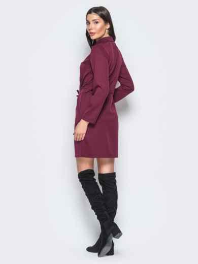 Бордовое платье с кулиской по талии и функциональными пуговицами - 17633, фото 3 – интернет-магазин Dressa