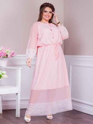 Длинное платье батал с кулиской по талии розовое 47618, фото 1