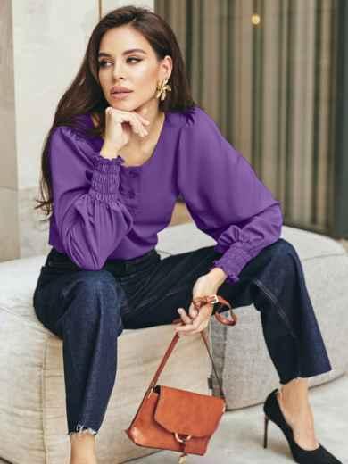 Фиолетовая блузка с длинными объемными рукавами 55188, фото 1