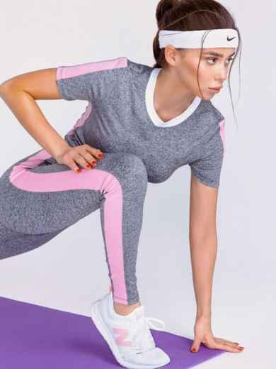 Комплект для фитнеса из и топа и лосин серый 44184, фото 2