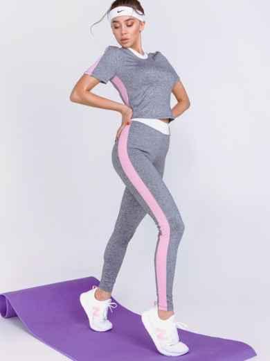 Комплект для фитнеса из и топа и лосин серый 44184, фото 3
