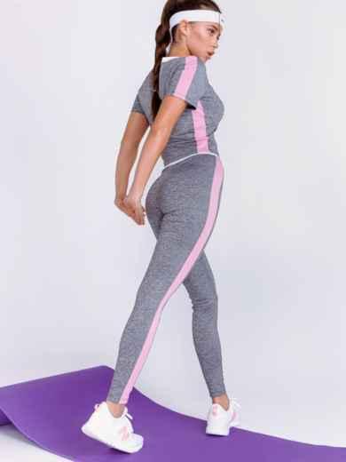 Комплект для фитнеса из и топа и лосин серый 44184, фото 4