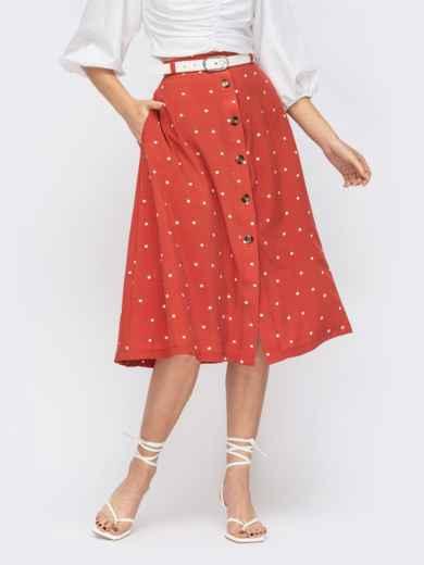 Расклешенная юбка-миди в горох на пуговицах терракотовая 53960, фото 1