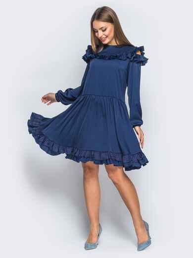 Шелковое платье синего цвета с расклешенной юбкой - 18137, фото 1 – интернет-магазин Dressa