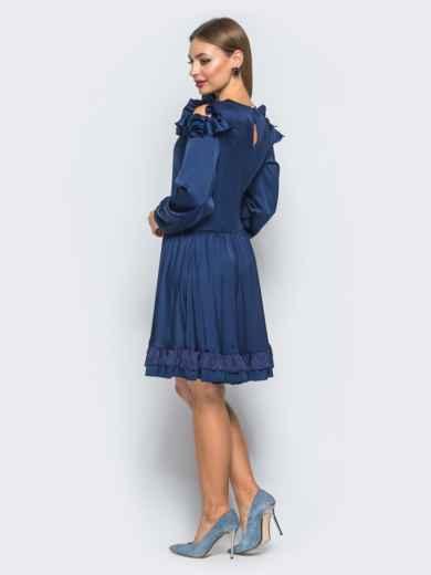 Шелковое платье синего цвета с расклешенной юбкой - 18137, фото 3 – интернет-магазин Dressa
