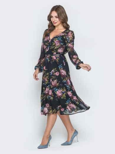 Шифоновое платье с растительным принтом чёрное - 40589, фото 2 – интернет-магазин Dressa