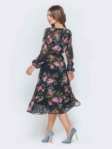 Шифоновое платье с растительным принтом чёрное - 40589, фото 3 – интернет-магазин Dressa
