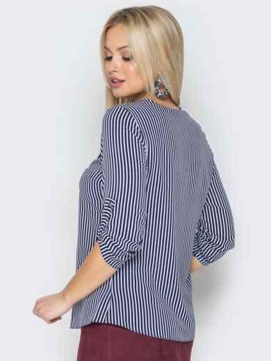 efdd0fa1e80 Синяя блузка в мелкую полоску с фатиновой вставкой 19651 – купить в ...
