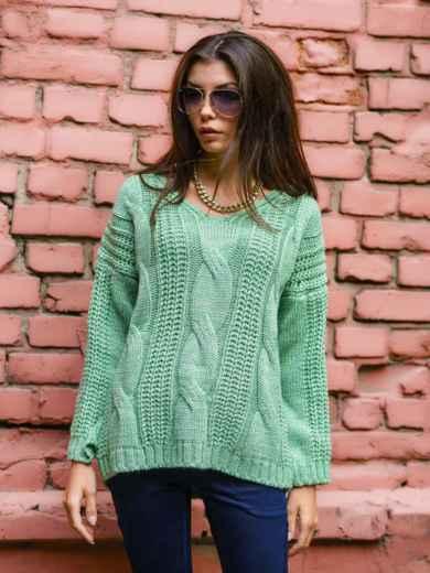 Вязаная туника со спущенным плечом зелёная - 13178, фото 2 – интернет-магазин Dressa
