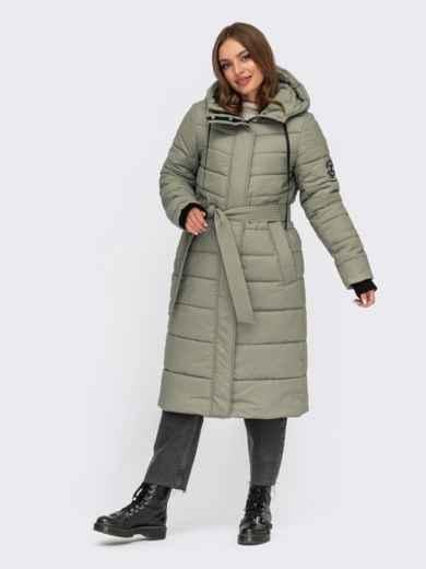 Зимняя удлиненная куртка мятного цвета с вшитым капюшоном 55610, фото 1