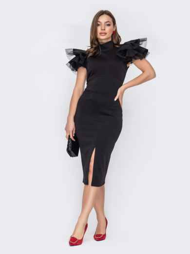 Платье с разрезом спереди и рукавом-крылышко черное 53518, фото 1