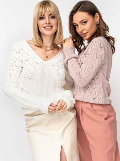 Ажурный свитер с треугольным вырезом молочный 52886, фото 1