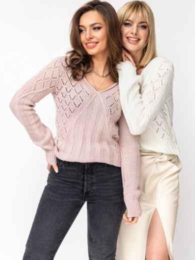 Ажурный свитер с треугольным вырезом пудровый 52887, фото 1