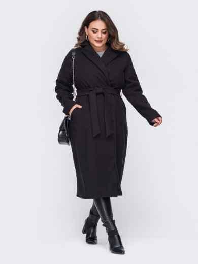 Чёрное пальто большого размера на запах 50879, фото 2