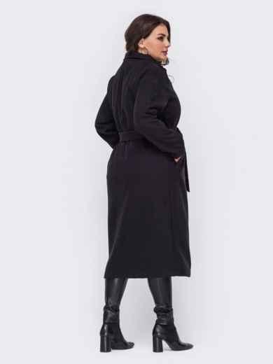 Чёрное пальто большого размера на запах 50879, фото 3