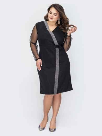 Чёрное платье батал из трикотажа с люрексом 44522, фото 1