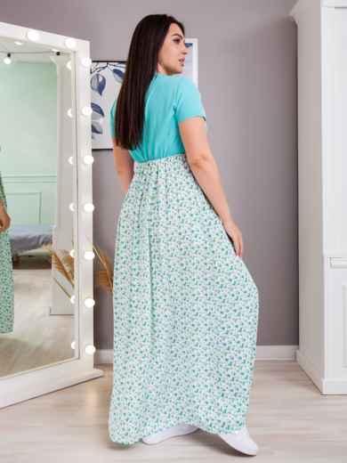 Длинное платье батал в полоску с завышенной линией талии бирюзовое 48380, фото 3