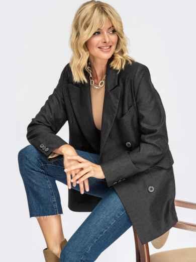 Двубортный пиджак графитового цвета с карманами 55111, фото 1