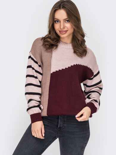 Контрастный свитер с круглым вырезом пудровый 52888, фото 1