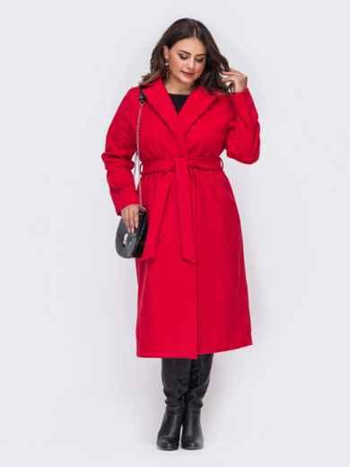 Красное пальто большого размера на запах 50880, фото 2