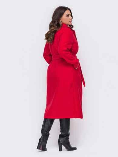 Красное пальто большого размера на запах 50880, фото 3