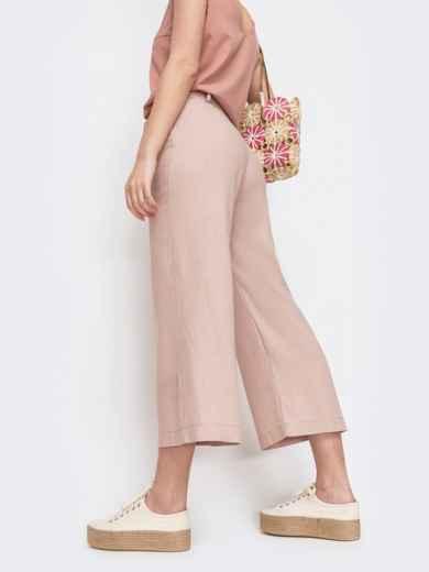 Льняные брюки-кюлоты на молнии цвета пудра 46796, фото 2