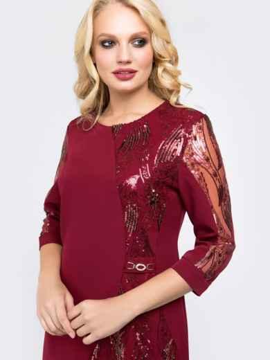 Платье бордового цвета со вставками из пайеток - 18464, фото 4 – интернет-магазин Dressa