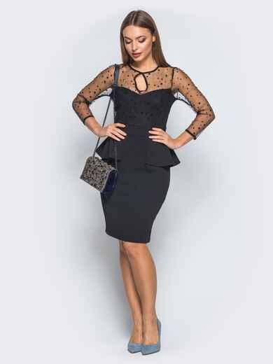 Платье-футляр с баской и фатиновыми рукавами черное 18284, фото 1