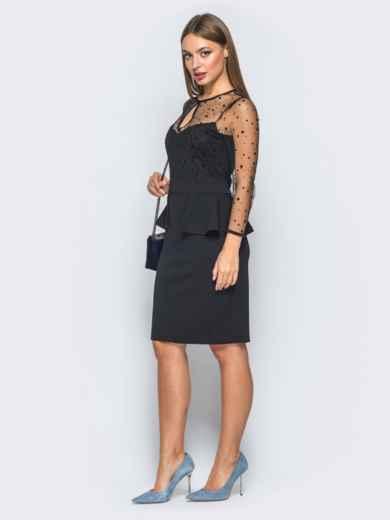 f54711b5e8b Платье-футляр с баской и фатиновыми рукавами черное 18284 – купить в ...