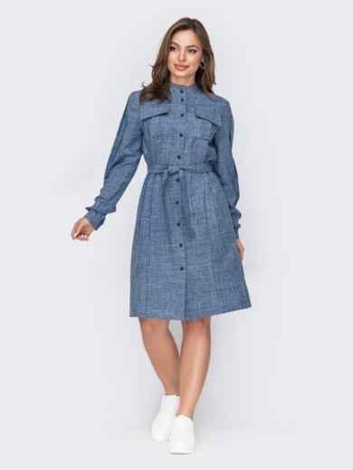 Платье-рубашка с воротником-стойкой голубое 53520, фото 1