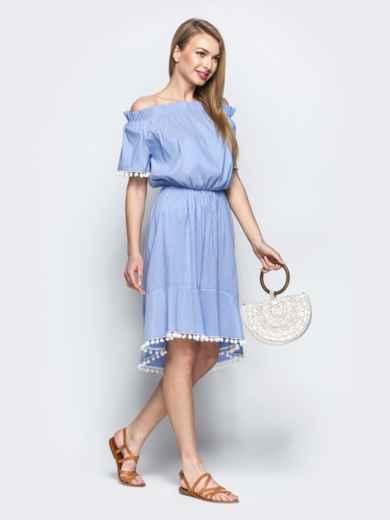 Платье с окантовкой и открытыми плечами синее 21589, фото 2