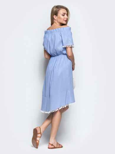 Платье с окантовкой и открытыми плечами синее 21589, фото 3