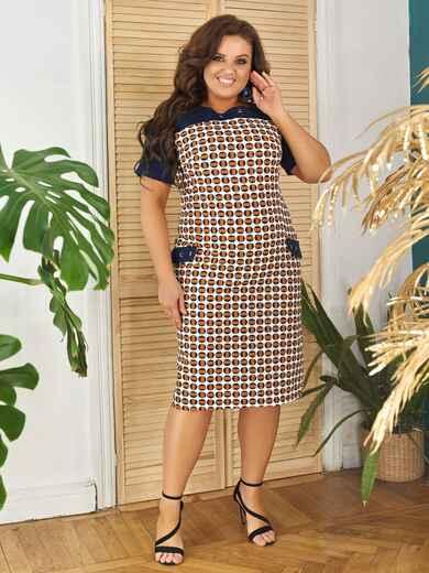 Приталенное платье батал с принтом бежевое 48368, фото 1