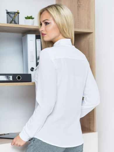 Рубашка с карманами-обманками белая - 14575, фото 4 – интернет-магазин Dressa