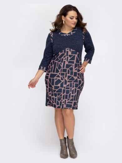 Тёмно-синее платье большого размера с принтом 44520, фото 1