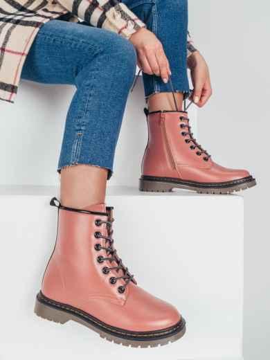 Зимние ботинки из эко-кожи розового цвета 51380, фото 1