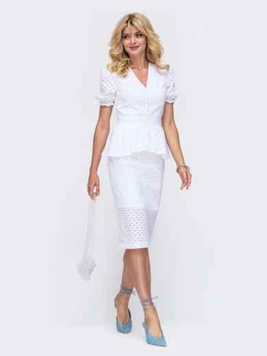 Белый комплект из прошвы с блузкой и юбкой 50132, фото 1