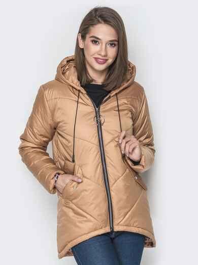 Бежевая куртка с удлиненной спинкой и капюшоном - 20079, фото 1 – интернет-магазин Dressa