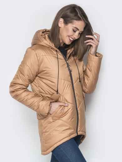 Бежевая куртка с удлиненной спинкой и капюшоном - 20079, фото 2 – интернет-магазин Dressa