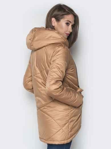 Бежевая куртка с удлиненной спинкой и капюшоном - 20079, фото 3 – интернет-магазин Dressa