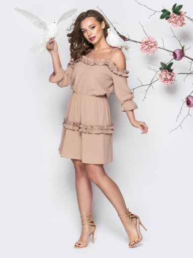 9d7ea174766 Бежевое платье на тонких бретелях с резинкой по талии 21206 – купить ...