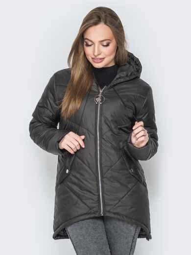 Чёрная куртка с удлиненной спинкой и капюшоном - 20078, фото 1 – интернет-магазин Dressa