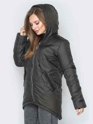 Чёрная куртка с удлиненной спинкой и капюшоном - 20078, фото 2 – интернет-магазин Dressa