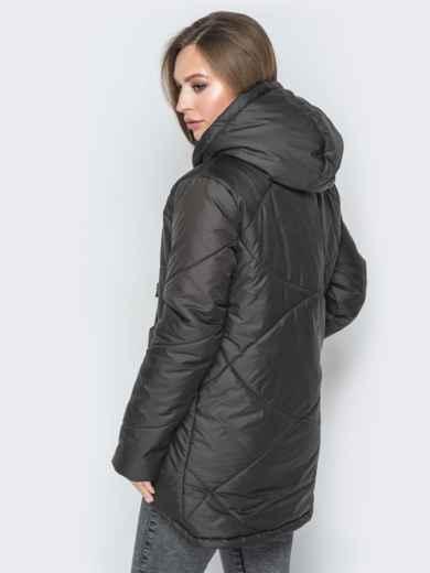 Чёрная куртка с удлиненной спинкой и капюшоном - 20078, фото 3 – интернет-магазин Dressa