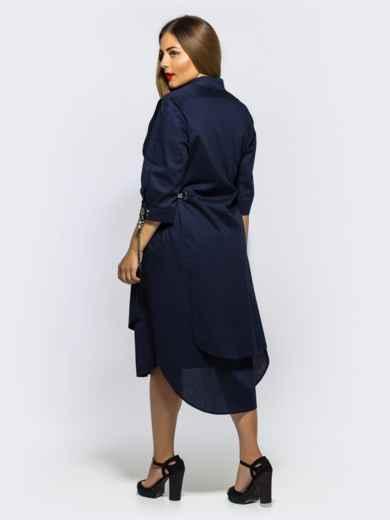 Двухслойное платье-рубашка с завязками на рукавах синее - 28455, фото 2 – интернет-магазин Dressa